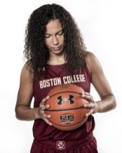 """""""Members of the 2019 Boston College Women's Basketball team pose for portraits on white at Boston College in Chestnut Hill, Massachusetts."""""""
