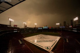 BOSTON, MA - SEPTEMBER 4: Clouds form during a rain delay before a game between the Boston Red Sox and the Minnesota Twins on September 4, 2019 at Fenway Park in Boston, Massachusetts. (Photo by Billie Weiss/Boston Red Sox/Getty Images) *** Local Caption ***