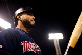BOSTON, MA - SEPTEMBER 4: Nelson Cruz #23 of the Minnesota Twins looks on during the first inning of a game against the Boston Red Sox on September 4, 2019 at Fenway Park in Boston, Massachusetts. (Photo by Billie Weiss/Boston Red Sox/Getty Images) *** Local Caption *** Nelson Cruz