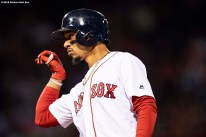 BOSTON, MA - SEPTEMBER 4: Mookie Betts #50 of the Boston Red Sox reacts after hitting a single during the fourth inning of a game against the Minnesota Twins on September 4, 2019 at Fenway Park in Boston, Massachusetts. (Photo by Billie Weiss/Boston Red Sox/Getty Images) *** Local Caption *** Mookie Betts