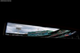 BOSTON, MA - SEPTEMBER 8: The facade is shown from inside the Green Monster before a game between the Boston Red Sox and the New York Yankees on September 8, 2019 at Fenway Park in Boston, Massachusetts. (Photo by Billie Weiss/Boston Red Sox/Getty Images) *** Local Caption ***