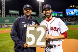 BOSTON, MA - SEPTEMBER 8: CC Sabathia #52 of the New York Yankees is presented with a retirement gift from David Price #10 of the Boston Red Sox before a game on September 8, 2019 at Fenway Park in Boston, Massachusetts. (Photo by Billie Weiss/Boston Red Sox/Getty Images) *** Local Caption *** CC Sabathia; David Price