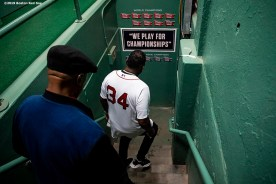 BOSTON, MA - SEPTEMBER 9: Former designated hitter David Ortiz #34 of the Boston Red Sox walks down the stairs before throwing out a ceremonial first pitch as he returns to Fenway Park before a game against the New York Yankees on September 9, 2019 at Fenway Park in Boston, Massachusetts. (Photo by Billie Weiss/Boston Red Sox/Getty Images) *** Local Caption *** David Ortiz