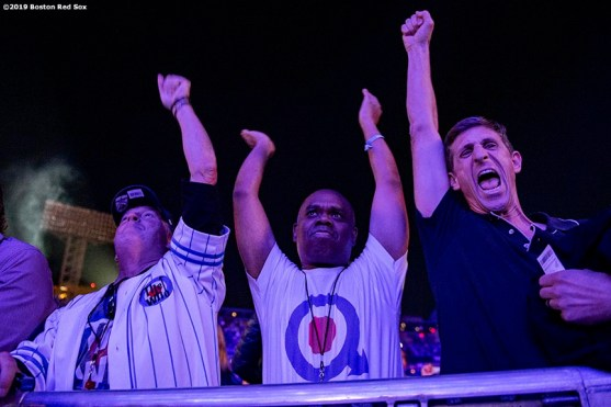 September 13, 2019 , Boston, MA: Fans cheer during a concert by The Who at Fenway Park in Boston, Massachusetts Friday, September 13, 2019. (Photo by Billie Weiss/Boston Red Sox)