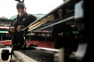 September 14, 2019 , Boston, MA: Billy Joel reacts as he is presented with a 2018 Boston Red Sox World Series Championship ring during a sound check before a concert at Fenway Park in Boston, Massachusetts Saturday, September 14, 2019. (Photo by Billie Weiss/Boston Red Sox)