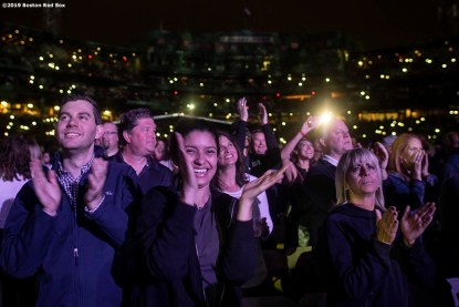 September 14, 2019 , Boston, MA: Fans cheer during a concert by Billy Joel at Fenway Park in Boston, Massachusetts Saturday, September 14, 2019. (Photo by Billie Weiss/Boston Red Sox)