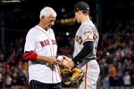 BOSTON, MA - SEPTEMBER 18: Former left fielder Carl Yastrzemski of the Boston Red Sox is given a baseball by grandson Mike Yastrzemski #5 of the San Francisco Giants after throwing out a ceremonial first pitch before a game on September 18, 2019 at Fenway Park in Boston, Massachusetts. (Photo by Billie Weiss/Boston Red Sox/Getty Images) *** Local Caption *** Carl Yastrzemski; Mike Yastrzemski