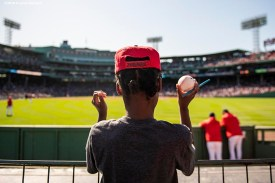 BOSTON, MA - SEPTEMBER 19: A young fan looks on during a game between the Boston Red Sox and the San Francisco Giants on September 19, 2019 at Fenway Park in Boston, Massachusetts. (Photo by Billie Weiss/Boston Red Sox/Getty Images) *** Local Caption ***
