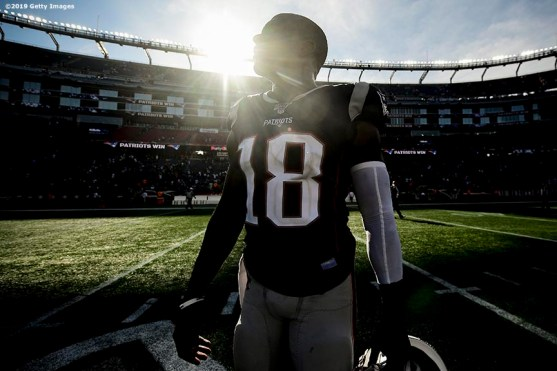 FOXBOROUGH, MA - SEPTEMBER 22: Matthew Slater #18 of the New England Patriots looks on after a game against the New York Jets at Gillette Stadium on September 22, 2019 in Foxborough, Massachusetts. (Photo by Billie Weiss/Getty Images) *** Local Caption *** Matthew Slater