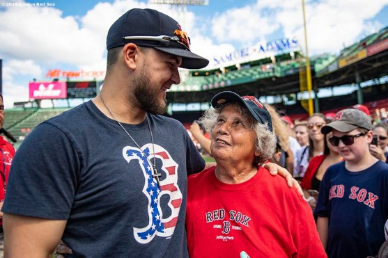 BOSTON, MA - SEPTEMBER 29: Michael Chavis #23 of the Boston Red Sox greets a fan before a game against the Baltimore Orioles on September 29, 2019 at Fenway Park in Boston, Massachusetts. (Photo by Billie Weiss/Boston Red Sox/Getty Images) *** Local Caption *** Michael Chavis