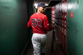 BOSTON, MA - SEPTEMBER 29: Mookie Betts #50 of the Boston Red Sox walks through the tunnel after scoring the game winning run on a walk-off single hit by Rafael Devers #11 during the ninth inning of a game against the Baltimore Orioles on September 29, 2019 at Fenway Park in Boston, Massachusetts. (Photo by Billie Weiss/Boston Red Sox/Getty Images) *** Local Caption *** Mookie Betts