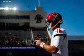 October 19, 2019 , Chestnut Hill, MA: of the North Carolina State Wolfpack during the quarter of a game against the Boston College Eagles at Alumni Stadium in Chestnut Hill, Massachusetts Saturday, October 19, 2019. (Photo by Billie Weiss/NC State)