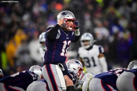 FOXBOROUGH, MA - NOVEMBER 24: Tom Brady #12 of the New England Patriots reacts during the first quarter of a game against the Dallas Cowboys at Gillette Stadium on November 24, 2019 in Foxborough, Massachusetts. (Photo by Billie Weiss/Getty Images) *** Local Caption ***Tom Brady