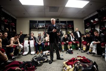 March 22, 2019, Boston, MA: Head coach Jerry York of Boston College addresses his team in the locker room after defeating University of Massachusetts in the 2019 Hockey East semi-final game to record his 600th career win at TD Garden in Boston, Massachusetts Friday, March 22, 2019. (Photo by Billie Weiss/Boston College)