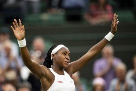 July 3, 2019 , Wimbledon, England: Cori Gauff reacts after defeating Magdalena Rybarikova during a second round match during the 2019 Championships Wimbledon at the All England Lawn Tennis Club in Wimbledon, England Wednesday, July 3, 2019. (Photo by Billie Weiss/Wimbledon)