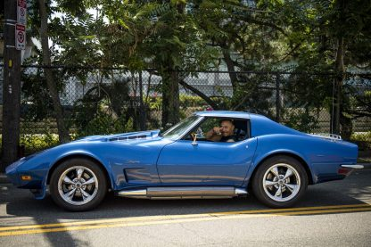 August 16, 2019 , Brighton, MA: Boston Red Sox right fielder Mookie Betts departs from a spot production shoot for BodyArmor at High Output Studios in his blue Stingray Corvette in Brighton, Massachusetts Friday, August 16, 2019. (Photo by Billie Weiss/BodyArmor)