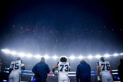 FOXBOROUGH, MA - NOVEMBER 24: of the New England Patriots during the quarter of a game against the Dallas Cowboys at Gillette Stadium on November 24, 2019 in Foxborough, Massachusetts. (Photo by Billie Weiss/Getty Images) *** Local Caption ***