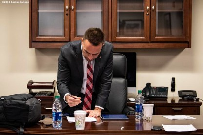 December 16, 2019, Chestnut Hill, MA: Newly appointed Boston College Football Head Coach Jeff Hafley works in his office during his first day at Boston College in Chestnut Hill, Massachusetts Monday, December 16, 2019. (Photo by Billie Weiss/Boston College)