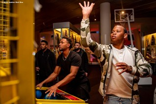SPRINGFIELD, MA - JANUARY 17: Xander Bogaerts #2 and Rafael Devers #11 of the Boston Red Sox play basketball during an event at the Naismith Memorial Basketball Hall of Fame during the 2020 Red Sox Winter Weekend on January 17, 2020 at MGM Springfield and MassMutual Center in Springfield, Massachusetts. (Photo by Billie Weiss/Boston Red Sox/Getty Images) *** Local Caption *** Rafael Devers; Xander Bogaerts