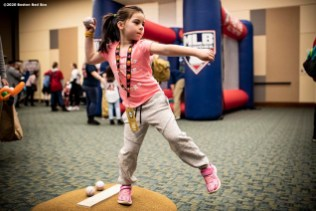 SPRINGFIELD, MA - JANUARY 18: A young fan pitches during the 2020 Red Sox Winter Weekend on January 18, 2020 at MGM Springfield and MassMutual Center in Springfield, Massachusetts. (Photo by Billie Weiss/Boston Red Sox/Getty Images) *** Local Caption ***