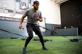 DAVIE, FL - DECEMBER 3: Eduardo Rodriguez #57 of the Boston Red Sox lifts during an off-season workout on December 3, 2019 at Bommarito Performance Systems in Davie, Florida. (Photo by Billie Weiss/Boston Red Sox/Getty Images) *** Local Caption ***