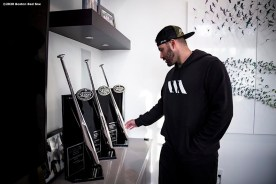FORT LAUDERDALE, FL - DECEMBER 3: J.D. Martinez #28 of the Boston Red Sox looks at his Silver Slugger awards at his home on December 3, 2019 at in Fort Lauderdale, Florida. (Photo by Billie Weiss/Boston Red Sox/Getty Images) *** Local Caption *** J.D. Martinez