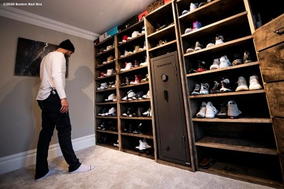 NEWTOWN, CT - DECEMBER 20: Matt Barnes #32 of the Boston Red Sox looks at his Nike Jordan shoe collection in his closet on December 20, 2019 at his home in Newtown, Connecticut. (Photo by Billie Weiss/Boston Red Sox/Getty Images) *** Local Caption *** Matt Barnes