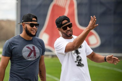 FT. MYERS, FL - FEBRUARY 15: Eduardo Rodriguez #57 reacts with Xander Bogaerts #2 of the Boston Red Sox during a team workout on February 15, 2020 at jetBlue Park at Fenway South in Fort Myers, Florida. (Photo by Billie Weiss/Boston Red Sox/Getty Images) *** Local Caption *** Eduardo Rodriguez; Xander Bogaerts