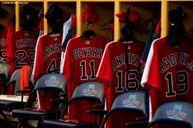 FT. MYERS, FL - FEBRUARY 16: Jerseys are displayed during a Boston Red Sox team workout on February 16, 2020 at jetBlue Park at Fenway South in Fort Myers, Florida. (Photo by Billie Weiss/Boston Red Sox/Getty Images) *** Local Caption ***