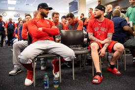 FT. MYERS, FL - FEBRUARY 17: Kevin Pillar and Alex Verdugo #99 of the Boston Red Sox attend a team meeting before a team workout on February 17, 2020 at jetBlue Park at Fenway South in Fort Myers, Florida. (Photo by Billie Weiss/Boston Red Sox/Getty Images) *** Local Caption *** Kevin Pillar; Alex Verdugo