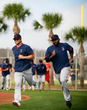 FT. MYERS, FL - FEBRUARY 17: Andrew Benintendi #16 and Jackie Bradley Jr. #19 of the Boston Red Sox run sprints during a team workout on February 17, 2020 at jetBlue Park at Fenway South in Fort Myers, Florida. (Photo by Billie Weiss/Boston Red Sox/Getty Images) *** Local Caption *** Andrew Benintendi; Jackie Bradley Jr.