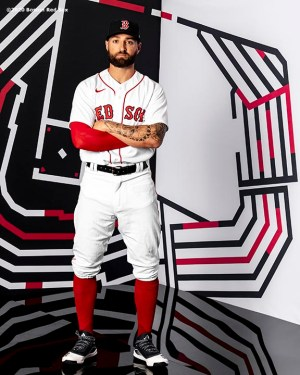 FT. MYERS, FL - FEBRUARY 19: Kevin Pillar #5 of the Boston Red Sox poses for a portrait during team photo day on February 19, 2020 at jetBlue Park at Fenway South in Fort Myers, Florida. (Photo by Billie Weiss/Boston Red Sox/Getty Images) *** Local Caption *** Kevin Pillar