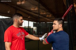 FT. MYERS, FL - FEBRUARY 25: J.D. Martinez #28 of the Boston Red Sox talks with Michael Chavis #23 before a Grapefruit League game against the Baltimore Orioles on February 25, 2020 at jetBlue Park at Fenway South in Fort Myers, Florida. (Photo by Billie Weiss/Boston Red Sox/Getty Images) *** Local Caption *** J.D. Martinez; Michael Chavis