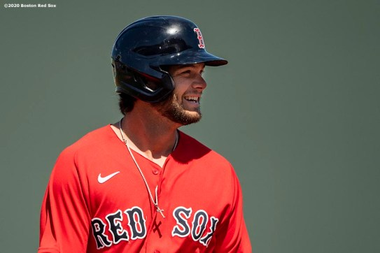 FT. MYERS, FL - FEBRUARY 27: Andrew Benintendi #16 of the Boston Red Sox reacts after hitting a single during the inning of a Grapefruit League game against the Philadelphia Phillies on February 27, 2020 at jetBlue Park at Fenway South in Fort Myers, Florida. (Photo by Billie Weiss/Boston Red Sox/Getty Images) *** Local Caption *** Andrew Benintendi