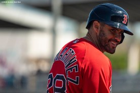 FT. MYERS, FL - FEBRUARY 28: J.D. Martinez #28 of the Boston Red Sox reacts after hitting a triple during the first inning of a Grapefruit League game against the Minnesota Twins at CenturyLink Sports Complex on February 28, 2020 in Fort Myers, Florida. (Photo by Billie Weiss/Boston Red Sox/Getty Images) *** Local Caption *** J.D. Martinez