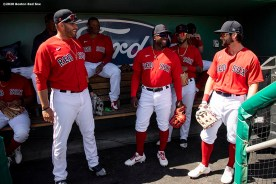 FT. MYERS, FL - MARCH 7: J.D. Martinez #28, Rusney Castillo #38, and Andrew Benintendi #16 of the Boston Red Sox talk in the dugout before a Grapefruit League game against the Toronto Blue Jays on March 7, 2020 at jetBlue Park at Fenway South in Fort Myers, Florida. (Photo by Billie Weiss/Boston Red Sox/Getty Images) *** Local Caption *** Rusney Castillo; Andrew Benintendi; J.D. Martinez