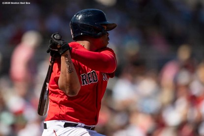 FT. MYERS, FL - MARCH 7: Rafael Devers #11 of the Boston Red Sox hits a single during the first inning of a Grapefruit League game against the Toronto Blue Jays on March 7, 2020 at jetBlue Park at Fenway South in Fort Myers, Florida. (Photo by Billie Weiss/Boston Red Sox/Getty Images) *** Local Caption *** Rafael Devers