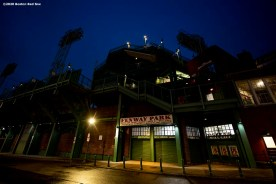 BOSTON, MA - APRIL 2: Lansdowne street is shown as the sun rises over Fenway Park on what would have been the home opening day for the Boston Red Sox against the Chicago White Sox at Fenway Park on April 2, 2020 at Fenway Park in Boston, Massachusetts. The game was postponed due to the coronavirus pandemic. (Photo by Billie Weiss/Boston Red Sox/Getty Images) *** Local Caption ***