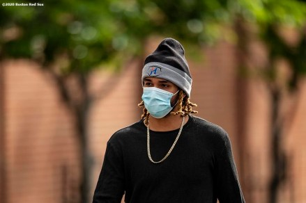 BOSTON, MA - JULY 1: Jonathan Arauz #36 of the Boston Red Sox arrives in advance of a training period before the start of the 2020 Major League Baseball season on July 1, 2020 at Fenway Park in Boston, Massachusetts. The season was delayed due to the coronavirus pandemic. (Photo by Billie Weiss/Boston Red Sox/Getty Images) *** Local Caption *** Jonathan Arauz