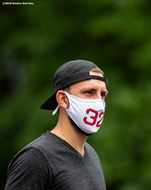 BOSTON, MA - JULY 1: Matt Barnes #32 of the Boston Red Sox arrives in advance of a training period before the start of the 2020 Major League Baseball season on July 1, 2020 at Fenway Park in Boston, Massachusetts. The season was delayed due to the coronavirus pandemic. (Photo by Billie Weiss/Boston Red Sox/Getty Images) *** Local Caption *** Matt Barnes