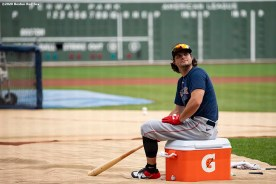 BOSTON, MA - JULY 8: Andrew Benintendi #16 of the Boston Red Sox looks on during a summer camp workout before the start of the 2020 Major League Baseball season on July 8, 2020 at Fenway Park in Boston, Massachusetts. The season was delayed due to the coronavirus pandemic. (Photo by Billie Weiss/Boston Red Sox/Getty Images) *** Local Caption *** Andrew Benintendi