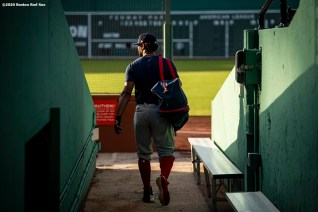 BOSTON, MA - JULY 17: Xander Bogaerts #2 of the Boston Red Sox walks toward the field before an intra squad game during a summer camp workout before the start of the 2020 Major League Baseball season on July 17, 2020 at Fenway Park in Boston, Massachusetts. The season was delayed due to the coronavirus pandemic. (Photo by Billie Weiss/Boston Red Sox/Getty Images) *** Local Caption *** Xander Bogaerts