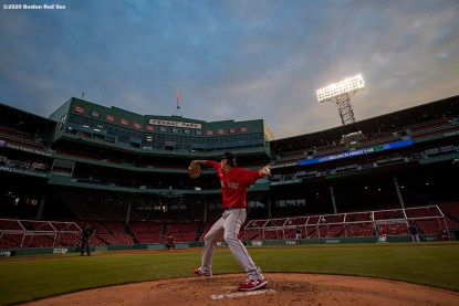 BOSTON, MA - JULY 17: Kyle Hart #81 of the Boston Red Sox delivers during an intra squad game during a summer camp workout before the start of the 2020 Major League Baseball season on July 17, 2020 at Fenway Park in Boston, Massachusetts. The season was delayed due to the coronavirus pandemic. (Photo by Billie Weiss/Boston Red Sox/Getty Images) *** Local Caption *** Kyle Hart