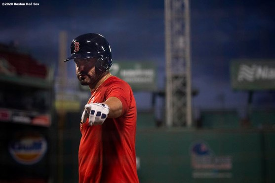BOSTON, MA - JULY 17: J.D. Martinez #28 of the Boston Red Sox reacts during an intra squad game during a summer camp workout before the start of the 2020 Major League Baseball season on July 17, 2020 at Fenway Park in Boston, Massachusetts. The season was delayed due to the coronavirus pandemic. (Photo by Billie Weiss/Boston Red Sox/Getty Images) *** Local Caption *** J.D. Martinez