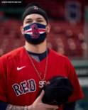 BOSTON, MA - JULY 22: Alex Verdugo #99 of the Boston Red Sox wears a mask as he looks on before an exhibition game against the Toronto Blue Jays before the start of the 2020 Major League Baseball season on July 22, 2020 at Fenway Park in Boston, Massachusetts. The season was delayed due to the coronavirus pandemic. (Photo by Billie Weiss/Boston Red Sox/Getty Images) *** Local Caption *** Alex Verdugo