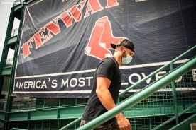 BOSTON, MA - JULY 24: Jonathan Lucroy #12 of the Boston Red Sox arrives before the Opening Day game against the Baltimore Orioles on July 24, 2020 at Fenway Park in Boston, Massachusetts. The 2020 season had been postponed since March due to the COVID-19 pandemic. (Photo by Billie Weiss/Boston Red Sox/Getty Images) *** Local Caption *** Jonathan Lucroy