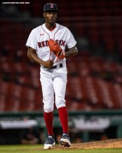 BOSTON, MA - JULY 24: Phillips Valdez #71 of the Boston Red Sox reacts after a victory during the Opening Day game against the Baltimore Orioles on July 24, 2020 at Fenway Park in Boston, Massachusetts. The 2020 season had been postponed since March due to the COVID-19 pandemic. (Photo by Billie Weiss/Boston Red Sox/Getty Images) *** Local Caption *** Phillips Valdez