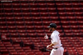 BOSTON, MA - JULY 25: Mitch Moreland #18 of the Boston Red Sox reacts after hitting a solo home run during the sixth inning of a game against the Baltimore Orioles on July 25, 2020 at Fenway Park in Boston, Massachusetts. The Major League Baseball season was delayed due to the coronavirus pandemic. (Photo by Billie Weiss/Boston Red Sox/Getty Images) *** Local Caption *** Mitch Moreland