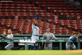 BOSTON, MA - JULY 27: Members of the New York Mets react after a three run home run by Brandon Nimmo during the fourth inning of a game against the Boston Red Sox on July 27, 2020 at Fenway Park in Boston, Massachusetts. The 2020 season had been postponed since March due to the COVID-19 pandemic. (Photo by Billie Weiss/Boston Red Sox/Getty Images) *** Local Caption ***