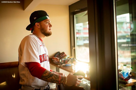 BOSTON, MA - JULY 28: Alex Verdugo #99 of the Boston Red Sox looks on from his locker room suite before a game against the New York Mets on July 28, 2020 at Fenway Park in Boston, Massachusetts. The 2020 season had been postponed since March due to the COVID-19 pandemic. (Photo by Billie Weiss/Boston Red Sox/Getty Images) *** Local Caption *** Alex Verdugo